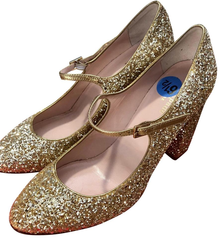 0fe9cafb96e Kate Spade Gold Glitter Angelique Platino Mary Jane Pumps Size US ...