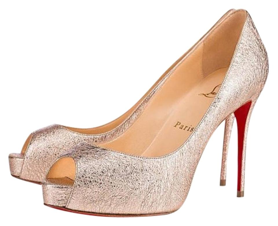 84511ed64626 Christian Louboutin Gold New Very Prive Rose Vintage Peep Toe Pumps ...