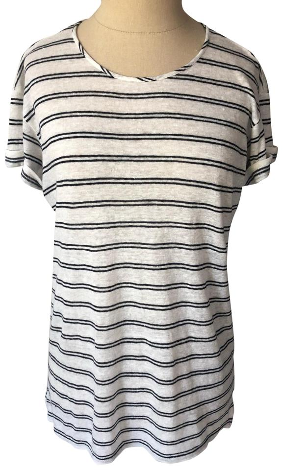 4f6f68c79b980 Vince Black and White Linen Blend Striped Rolled Sleeve Euc Tee ...