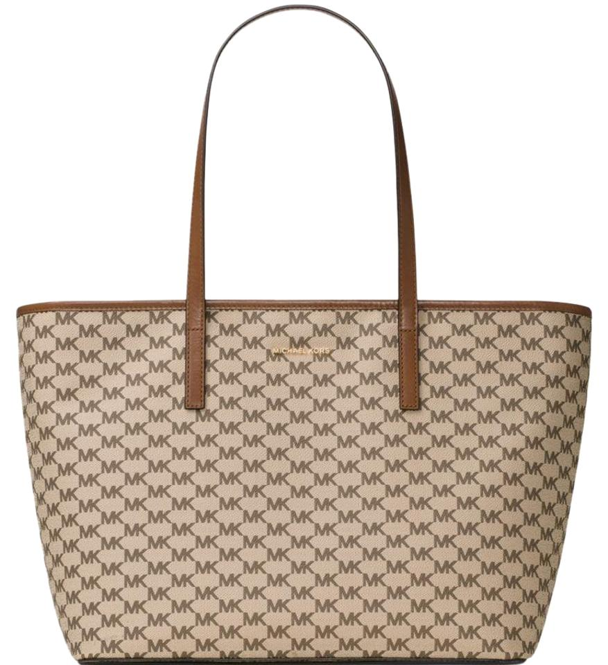 MICHAEL Michael Kors Emry Large Top Zip Natural/ Brown Signature Coated  Canvas Tote 50% off retail