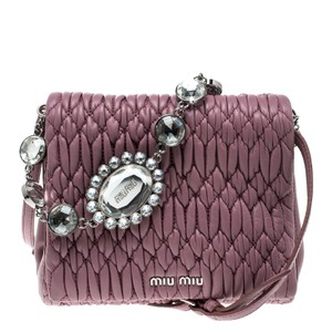 Miu Miu Bubble Gum Matelasse Crystal Pink Leather Cross Body Bag ... c19731199a732