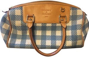 Dooney & Bourke Cloth Leather Tote in blue & white