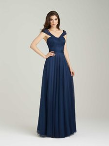 Allure Bridals Navy Tulle 1450 Formal Bridesmaid/Mob Dress Size 6 (S)