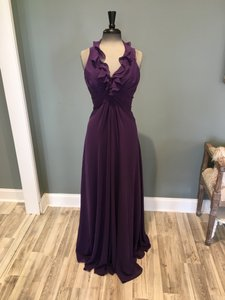 Allure Bridals Eggplant Chiffon 1274 Formal Bridesmaid/Mob Dress Size 8 (M)