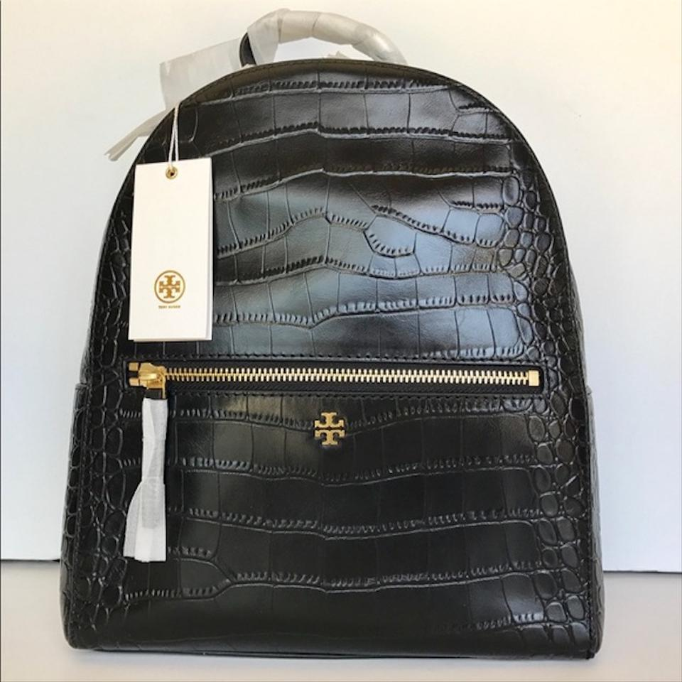 Leather New Mini Black Embossed Backpack Tote Croc Rare Burch Tory q1Iw88