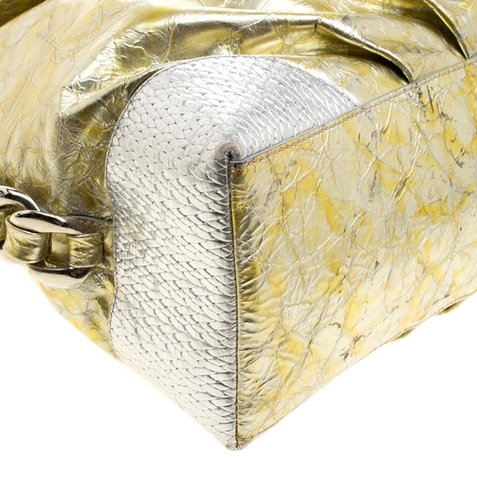 9f7920f3789 Versace Gold Silver Crinkled Chain Details Gold Leather Hobo Bag ...