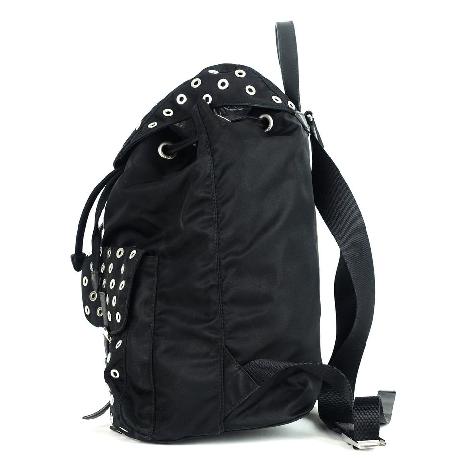 Backpack Nylon Black Tessuto Prada Grommet IZFxT