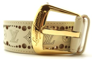 Louis Vuitton Ultra Rare gold buckle perforated leather Belt size 85 34 Logo