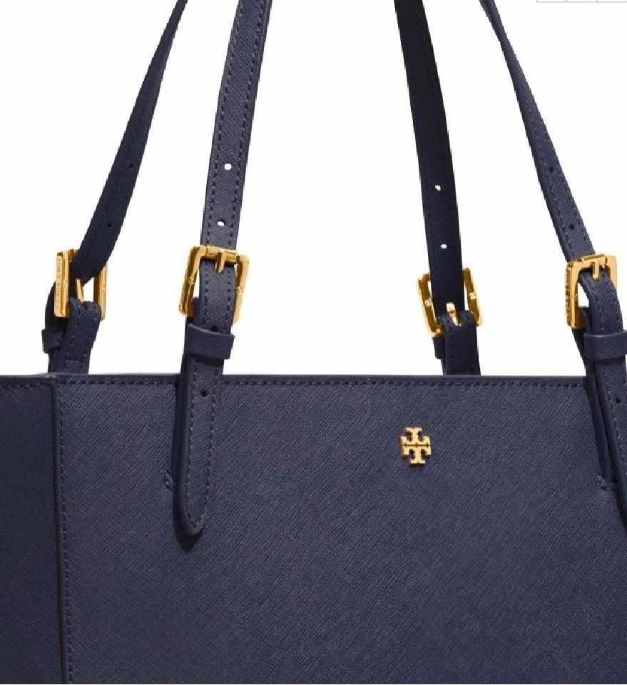 5c769873c Tory Burch Emerson York Small Buckle Blue Handbag Navy Leather Tote ...
