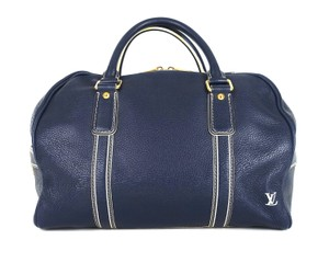 cb68faf9b750 Added to Shopping Bag. Louis Vuitton Boston Lv Luggage Navy Blue Travel Bag.  Louis Vuitton Tobago Boston Blue Leather Weekend Travel Bag