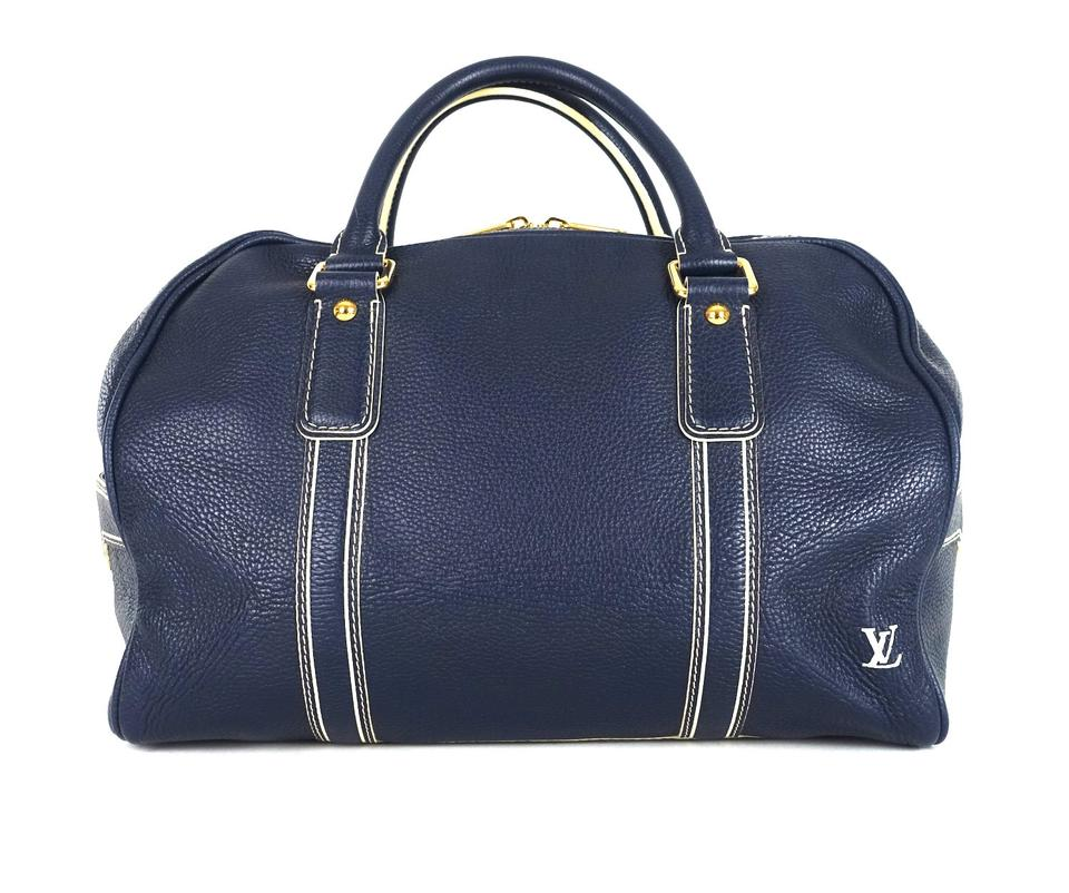 e39725f6c8c3 Louis Vuitton Tobago Boston Blue Leather Weekend Travel Bag - Tradesy
