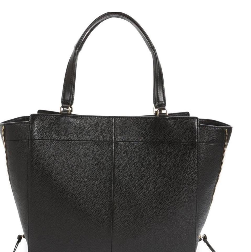 Ivy Black Tory Tote Side Burch Zip Leather fwxUAq0