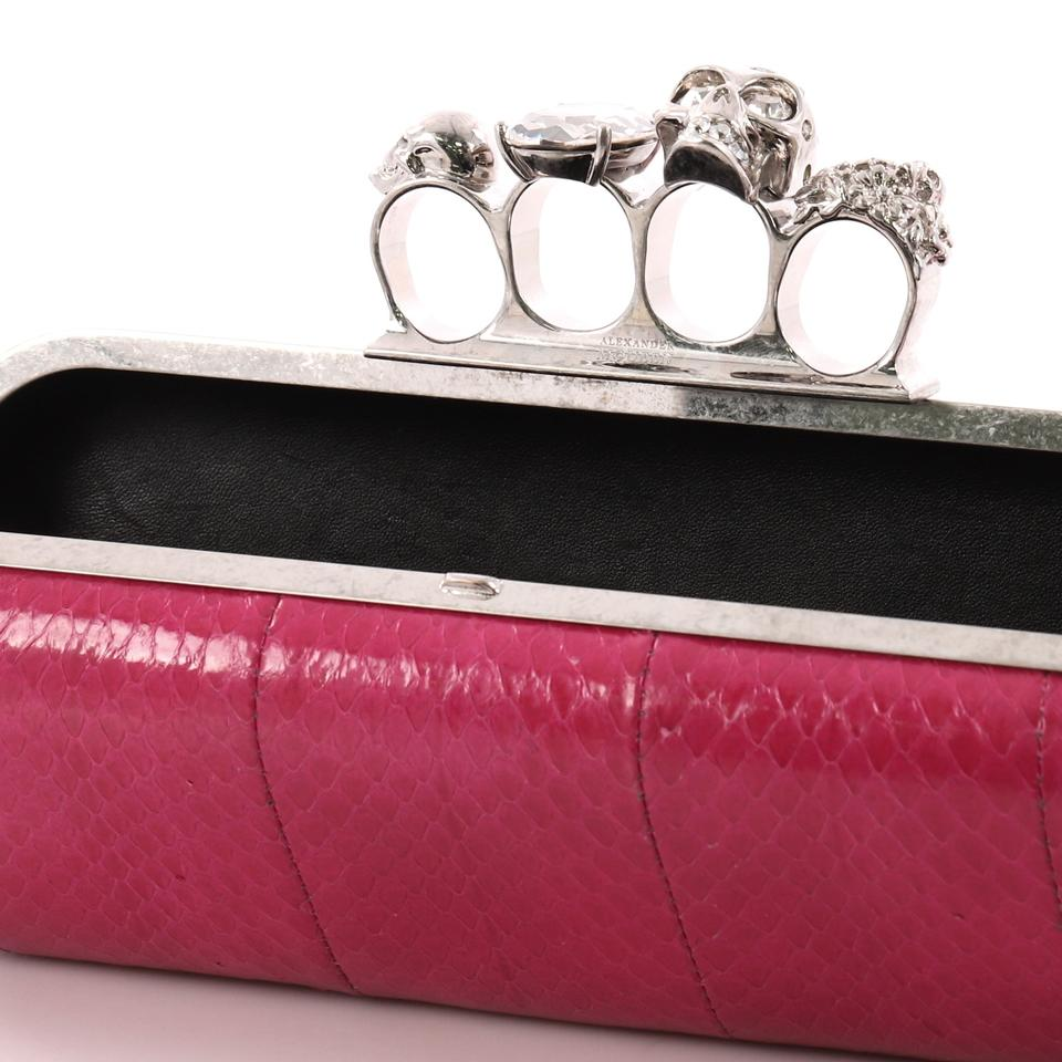 Skin Pink Alexander Python Leather Clutch McQueen Knuckle Long StSwXvq