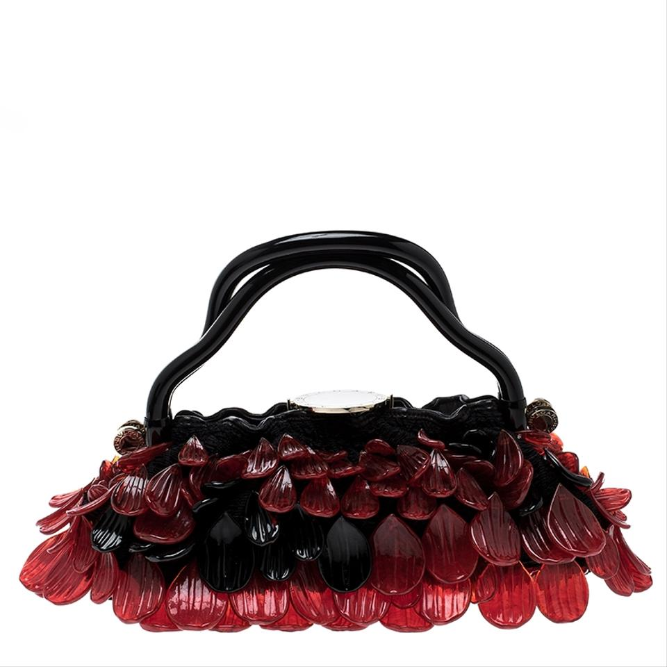 65434548b14 BVLGARI Red Murano Evening Black Glass and Fabric Shoulder Bag - Tradesy