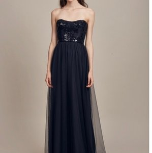 Amsale Black Sequined Lace Gb013 Formal Bridesmaid/Mob Dress Size 14 (L)