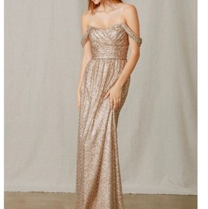Amsale Latte Sequins Gb039 Vintage Bridesmaid/Mob Dress Size 12 (L)
