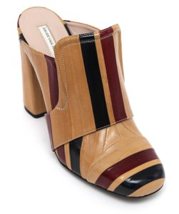 Dries van Noten Designer Leather Striped Tan, Black, Red Mules