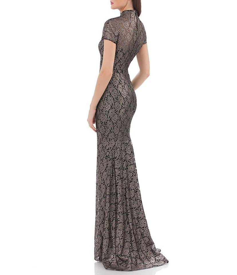 09bc354a455 Carmen Marc Valvo Black Gold Infusion Metallic Lace Mock Neck Gown ...