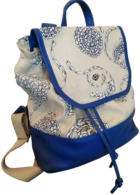 Item - Print Canvas And Natural Black Bright Blue Leather Backpack