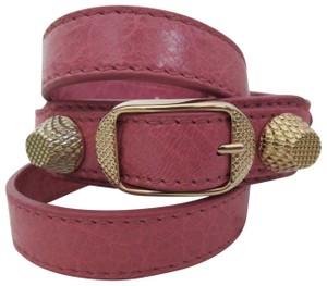 Balenciaga Balenciaga Giant Stud Rose Pink Gold Triple Wrap Leather Bracelet