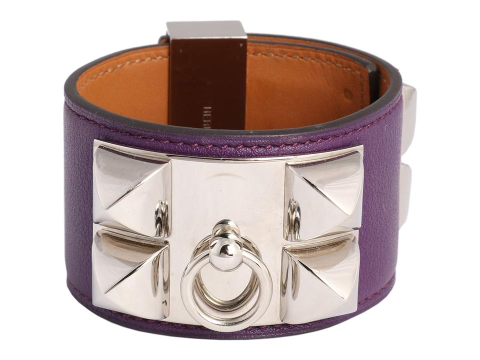 Hermès Purple Anemone Swift Leather Collier De Chien Cdc Bracelet 36% off retail