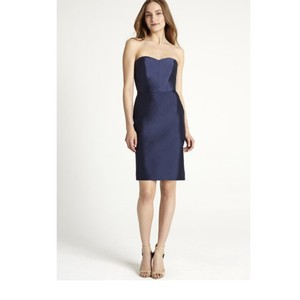 Monique Lhuillier Navy Taffeta 450314 Feminine Bridesmaid/Mob Dress Size 8 (M)