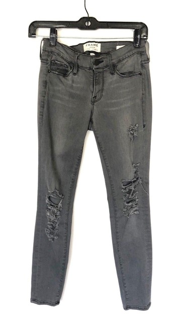 "Item - Gray Distressed Denim ""Le De Jeanne"" Skinny Jeans Size 25 (2, XS)"