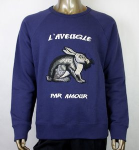 Gucci Blue XL Embroidery Rabbit Felted Cotton Knit Sweatshirt 408242 4326 Groomsman Gift