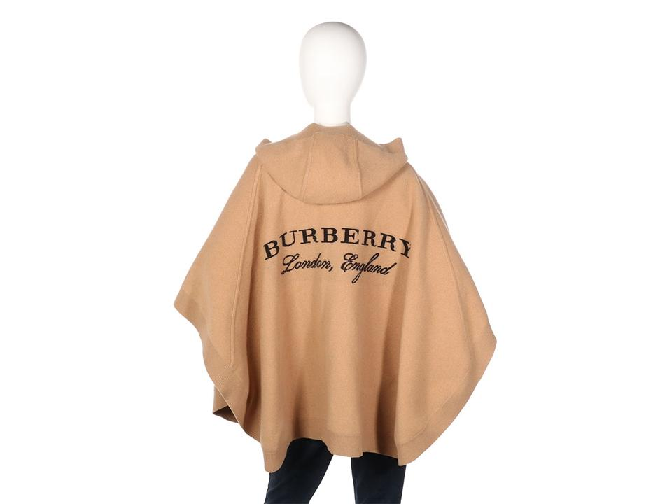 Velsete Burberry Tan Caramel Carla Hooded Wool Cashmere Knit Poncho/Cape UG-92