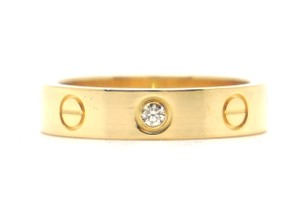 Cartier Rare 1p Diamond 18k Love Size 49 4.75 3.5mm Wide Ring