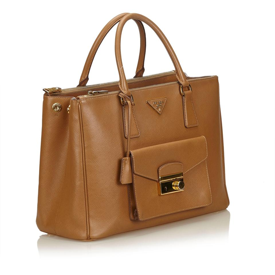 a9f56e72a7c6 Prada Double Lux Saffiano Frontal Pocket Double-zip Brown Leather Tote