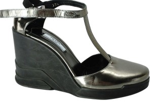 Prada Party Formal Strappy Heels Gray Wedges