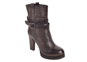 Brunello Cucinelli Grained Leather Mid Calf Brown Boots