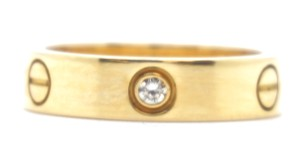 Cartier RARE 3P Diamonds 18k Yellow Gold ring Size 61 9.25 5.5mm wide
