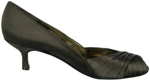 Stuart Weitzman Satin Peep Toe Brown Pumps