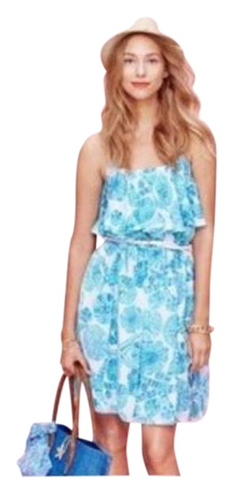 75743c53a909ed Lilly Pulitzer for Target White Turquoise Print Sea Urchin Sundress Casual  Dress