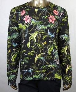 Gucci Black/Green/Blue/Pink L Men Black/Green Tropical Jungle Felted Cotton Sweatshirt 408241 3118 Groomsman Gift