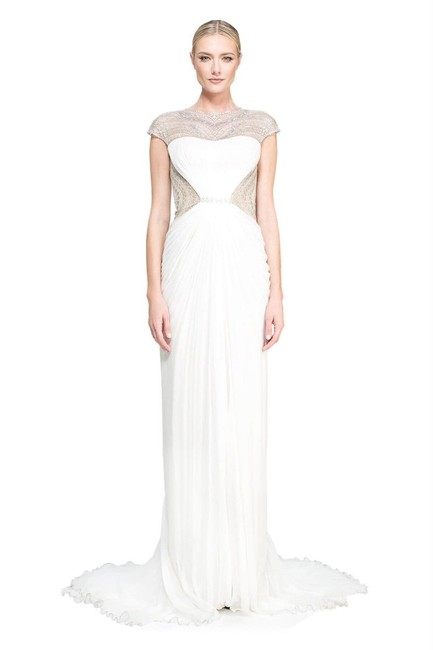 Item - Cream 'franklin' Embellished Silk Tulle Gown Long Formal Dress Size 00 (XXS)