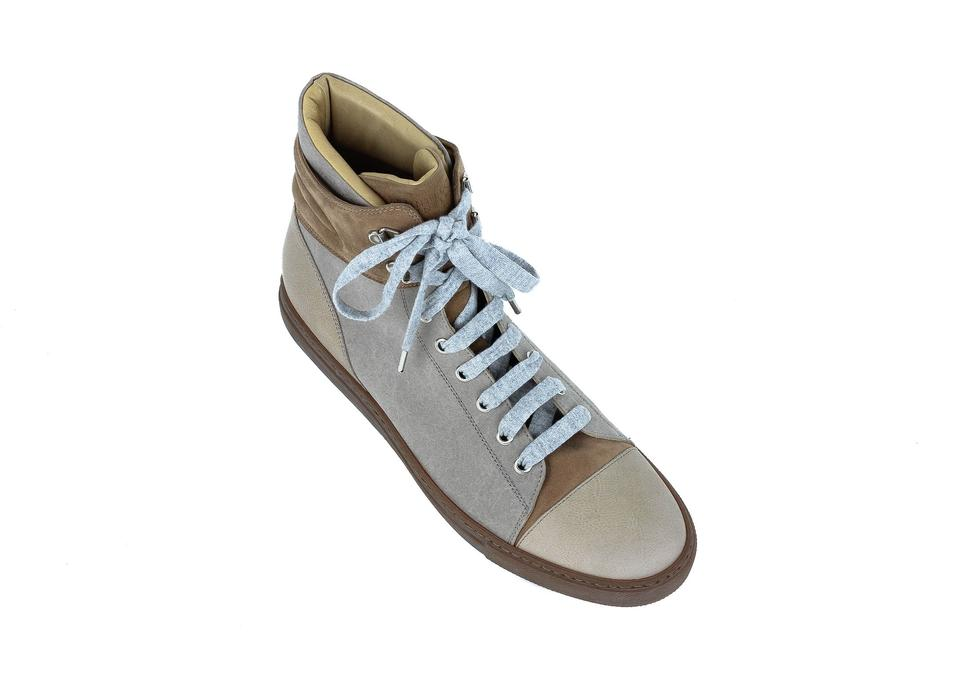 Leather Sneakers Top Sneakers Cucinelli Suede High Brown Brunello YzvEq
