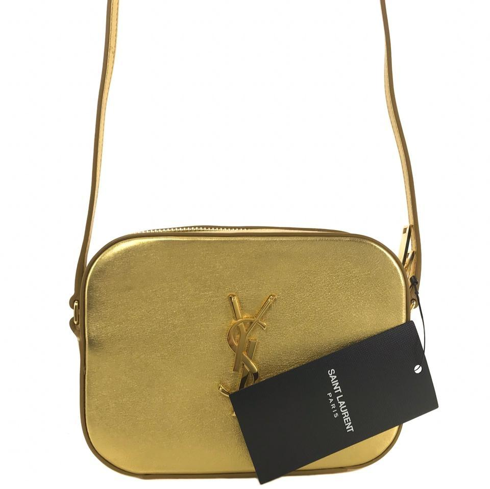 de7ed6fe5ed6 Saint Laurent Ysl Bo Monogram Metallic Small Gold Leather Cross Body ...