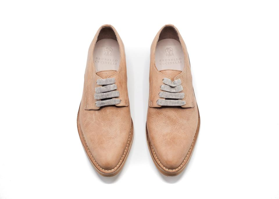 Brunello Cucinelli Tan Womens Brown Leather Lace Up Leather Oxfords