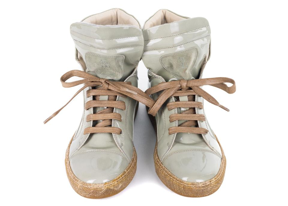 Light Green Sneakers Lace Cucinelli Sneakers Up Women's Brunello Patent wACatqn