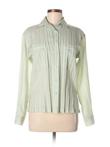 Issey Miyake Button Down Shirt Crinkle Japan Vintage Top Pastel Green