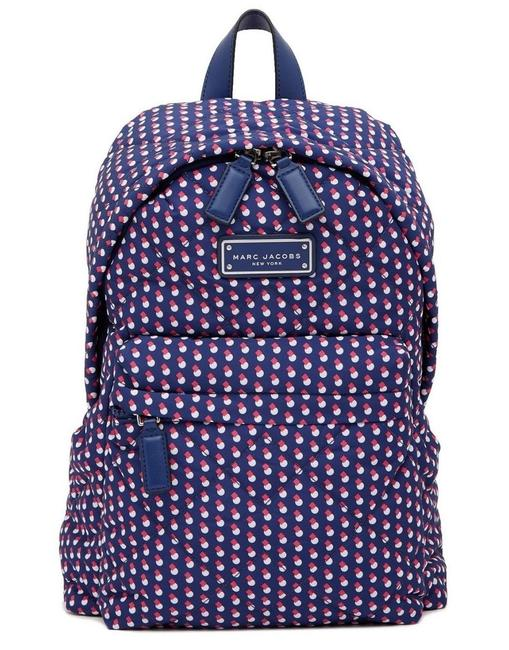 Item - Quilted Geo Spot Blue Print Multi Nylon Backpack