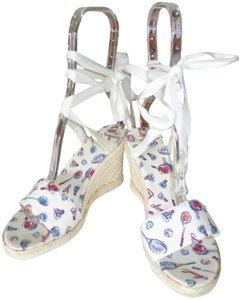 Chanel WHITE CANVAS WITH BLUE & RED LOGOS Wedges