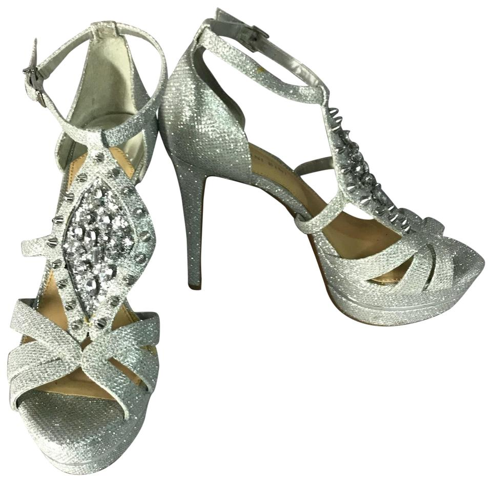 317eacbfb51 Gianni Bini Silver Jeweled Metallic Heels M Platforms Size US 9 ...