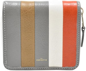 Balenciaga Bazar Striped leather Billfold Zip Around Wallet
