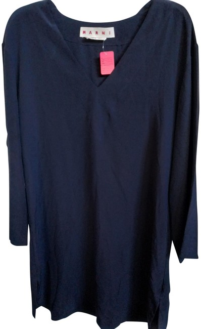 Marni Midnight Blue Large Made In Italy Long Sleeve Silk Shift Mid-length Work/Office Dress Size 14 (L) Marni Midnight Blue Large Made In Italy Long Sleeve Silk Shift Mid-length Work/Office Dress Size 14 (L) Image 1