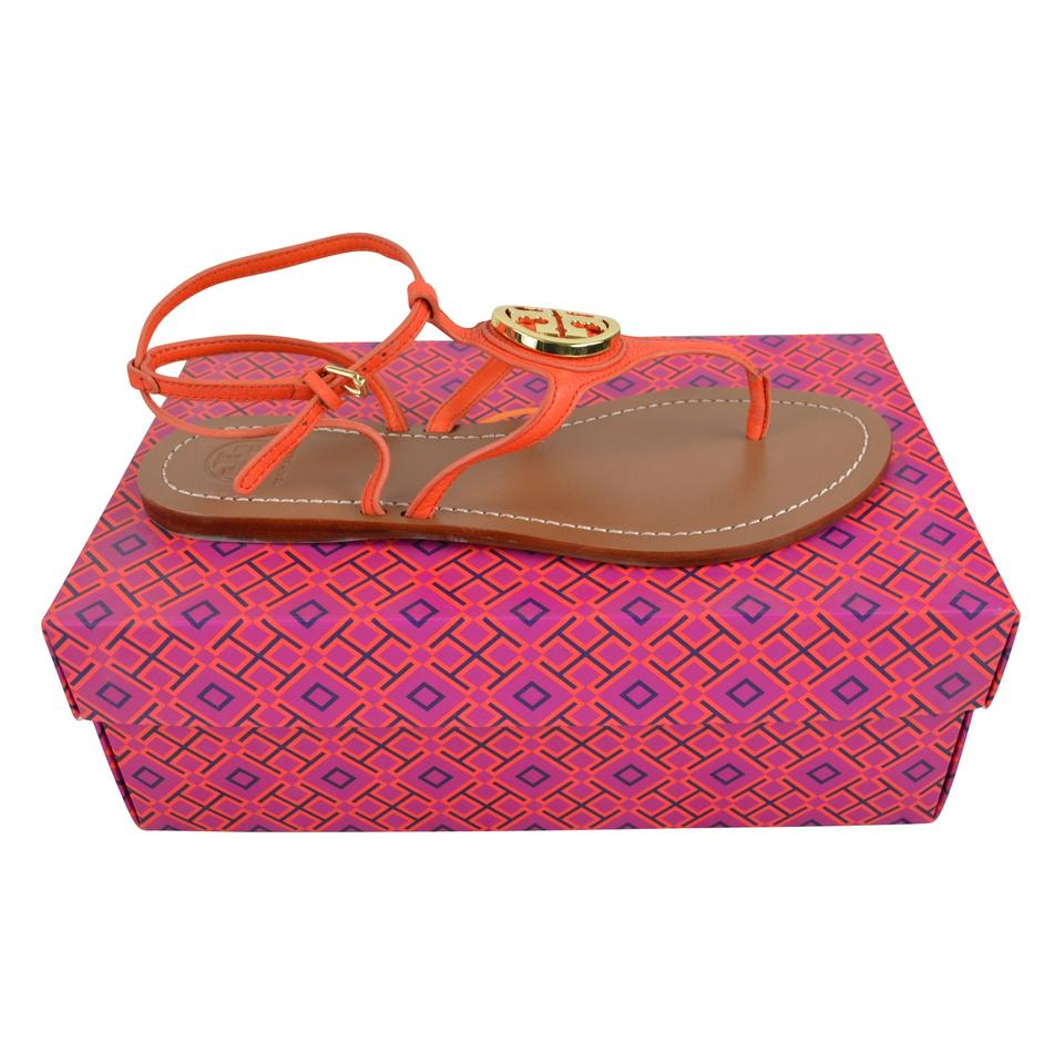 467dbc943335 Tory Burch Leticia Tumbled Leather Size 9.5 Poppy Red Sandals Image 0 ...