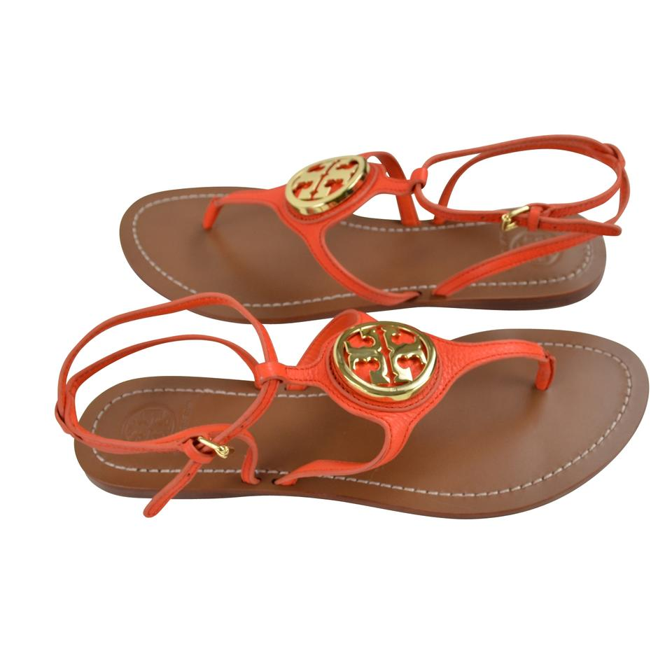 287d63274006 Tory Burch Leticia Tumbled Leather Size 9.5 Poppy Red Sandals Image 5.  123456